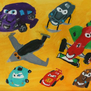Movie Cars with Gouache - 8 years old