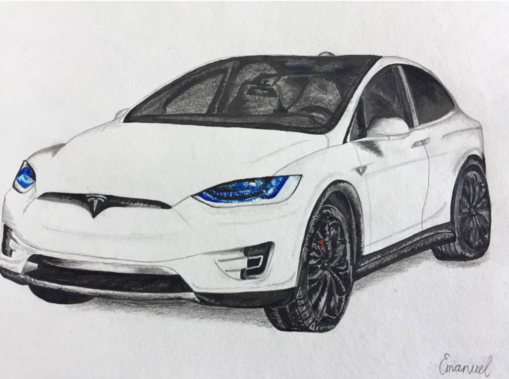 Drawing a Tesla Model X - emanuel schweizer