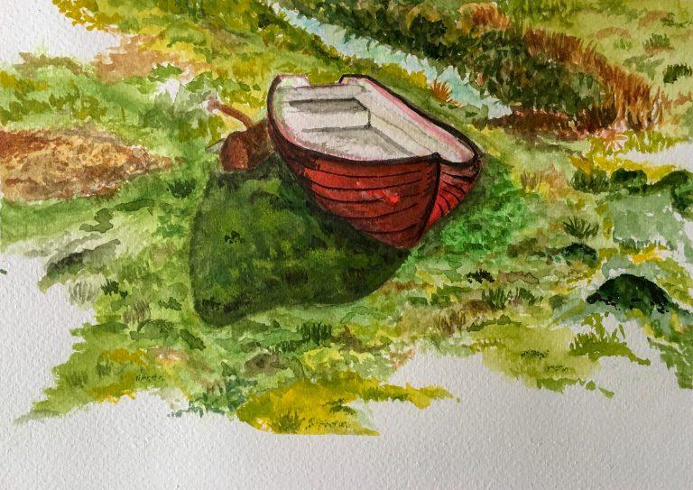 Aquarelle of the abandoned boat in Sweden - emanuel schweizer