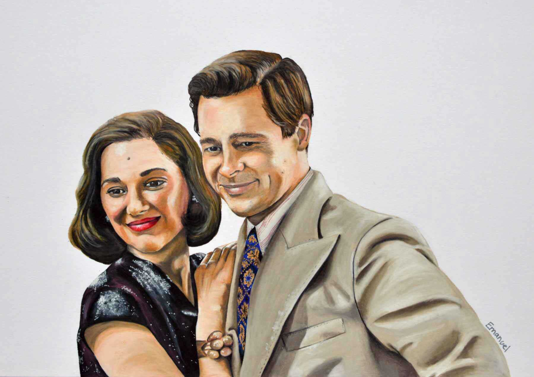 Marion Cotillard and Brad Pitt in the movie: Allied 2016