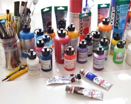 acryl lascaux, pinsel, paste, etc