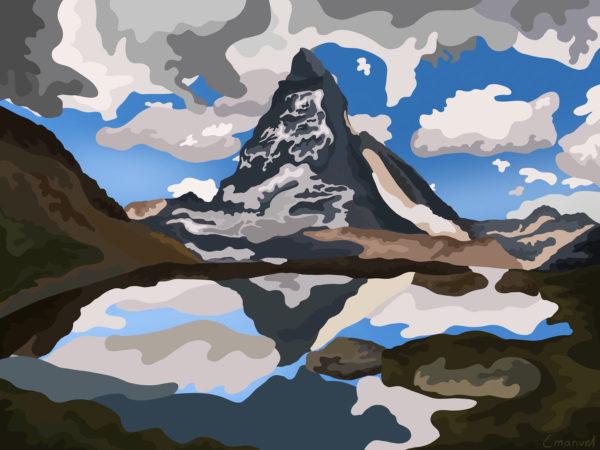 Illustration of the majestic Matterhorn by emanuel schweizer