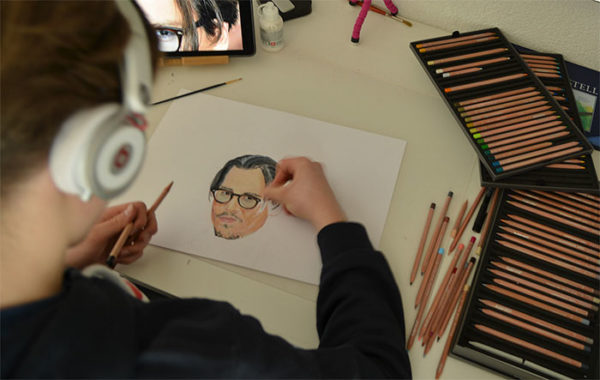 Emanuel working with Luminance from Caran d'Ache
